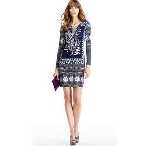 DVF Reina Long Silk Jersey Tunic Dress, size 8